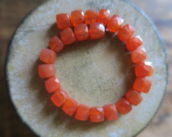 """Sparkling and Vivid Carnelian Faceted Cube Beads 6mm - 7mm, 6"""" Strand"""