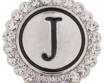 1 PC 18MM Letter J Alphabet Rhinestone Silver Candy Snap Charm Kc8539 Cc2840