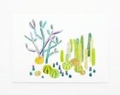 Cactus Garden 5x7 Art Print - Cacti Plants Giclée Print