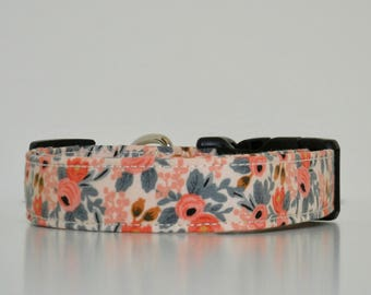 Peach Pink Floral Dog Collar Le Fleur Wedding Accessories Spring Summer Collar Made to Order