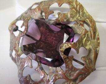 Victorian Art Glass Brooch -  Purple Glass Cabachon -  Brass C Clasp