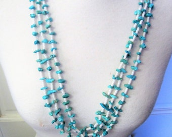 Turquoise Nugget Necklace - Native American -  Multistrand Heishi Shell  - White Long Torsade - Sterling Hook Clasp - 50's Necklace