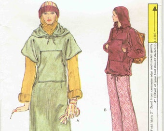 Very Easy Vogue Hoodie Dress and Pants Pattern 9639. Knit Hoodie in 2 Lengths - Dress and Top- Straight Leg Pants. Size 12 Bust 34  in.