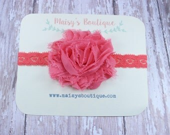 75% OFF Ready to Ship/ Newborn Pink Lace Flower  Headband/ Baby Headband/ Flower Girl Headband