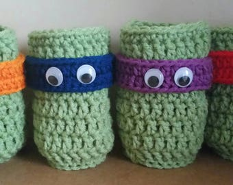 Hand crocheted turtle bottle can coozy's