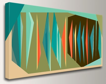 "Mid Century Wall Art - Canvas Print - Teal Orange Olive Green and Brown Decor - Retro Modern Design  - "" Multiplex Panorama """