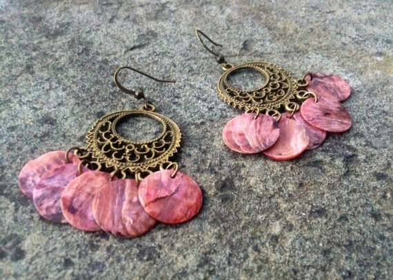 "Pink ""Simply Chandelier"" Mussel Shell Earrings"