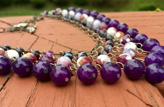 Purple Faceted Bib Necklace