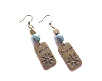 Flower Earrings, Floral Earrings, Brass Earrings, Teal Earrings, Long Dangle Earrings, Metal Earrings, Boho Earrings, Bohemian Jewelry