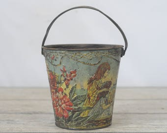 Antique Victorian Mini Sand Pail Bucket Children Ships Embossed Tin Litho Bucket