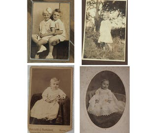 Antique Photographs- Choice of Four- Sepia- Late 1800's- Early 1900's- Child and baby portraits- In original paper folders- Vintage-