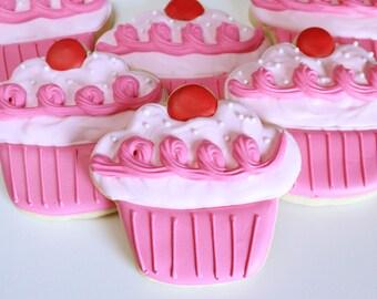 Pinkalicious Cupcake Cookies, Pink Cupcake Cookies, Pinkalicious Birthday Party Favors, Decorated Cupcake Cookies, Girl Birthday Cookies