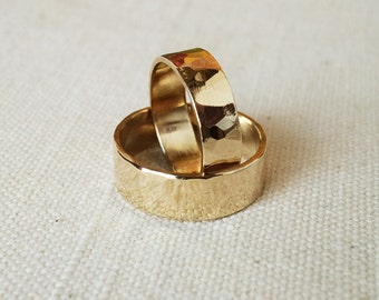 Rings Wedding Set Shiny Hammered Brass Band Rings Rustic His Hers  WRS#101B