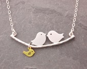 Mom Necklace, 1-10 kids, new mom necklace, mother necklace, baby shower gift, love birds necklace, personalized jewelry, mom to be, N1