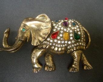 Jewel Encrusted Gilt Metal Elephant Brooch