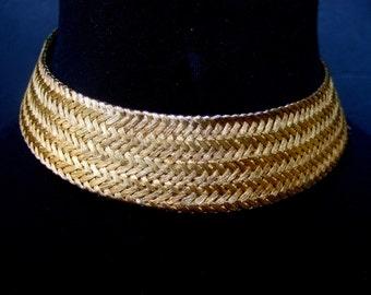 Unique Gilt Metal Woven Choker Necklace