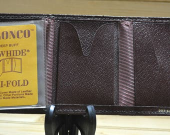 Vintage Bronco Deep Buff Cowhide Tri-Fold Mens Wallet Leather Craft Collectible Accessories Never Used TV Movie Prop Man Made Materials