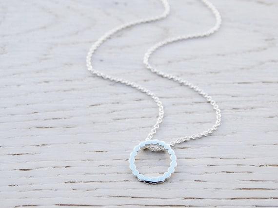 Tiny Silver Circle Dot Necklace