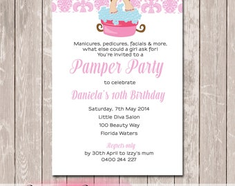 Pamper Spa Party Personalised Birthday Invitation - YOU PRINT