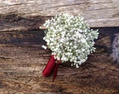 Simple Dried Baby's Breath Boutonniere - Dried Wedding Boutonniere - Baby's Breath
