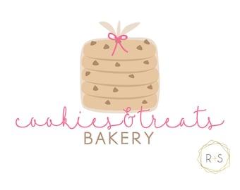 Pre-Made Logo,Watermark, Logo, Watermark, Boutique, Bakery Logo, Bakery, Pre-made, Unique, Watercolor Logo, Pink Logo, Cookie Logo