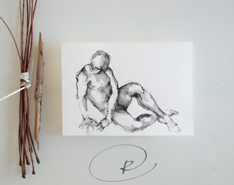 Male nude art, original male drawing, modern nude ink art, male nude, male painting, nude male art, ink art, dessin de nu, male, nude art