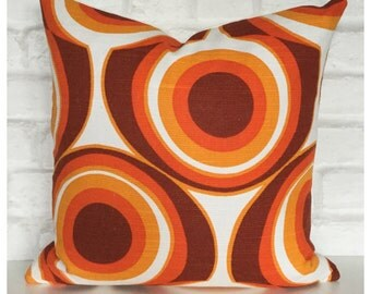"""Cushion Cover Vintage 60s 70s Orange Psychedelic   Fabric 16"""" x 16"""" Retro Throw Pillow"""