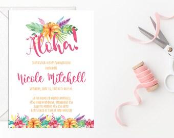 Aloha Baby Shower Invitation, Hawaiian Baby Shower Invitation, Printable