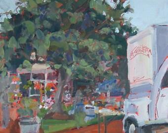 ORIGINAL art-Oil Painting-Landscape-Plein Air-Farmers Market-Small town-Affordable home decor wall art-Interior decor