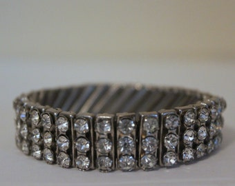 vintage 1940s Expandable Silver & Rhinestone Bracelet