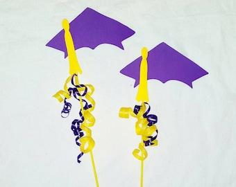Graduation party centerpiece picks, Graduation Cap double sided centerpiece picks, graduation centerpiece -4 picks choose your color