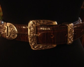 Vintage 1980s Boho Concho Distressed Dark Chocolate Brown and Silver Ornate Detail Belt Unisex