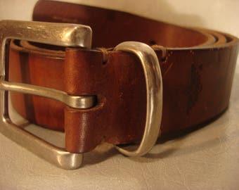 Boho 1990s Vintage Genuine Leather Square Buckle Belt UNISEX