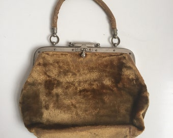 SALE! Victorian velvet handbag with metal frame and clasp