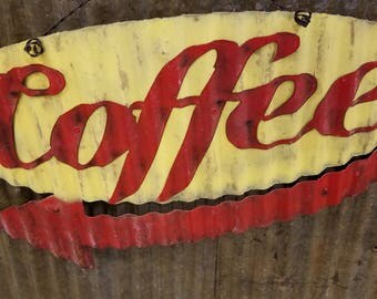 Coffee Mid-Century Retro Metal Sign