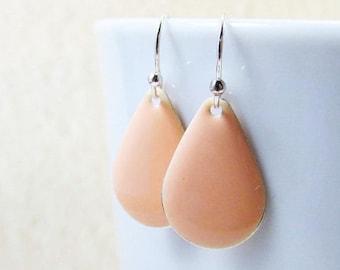 20% off sale Dangle Drop Earrings - Pastel Peach Epoxy Enamel Teardrops - Sterling Silver Plated over Brass
