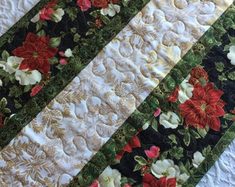 Christmas Table Runner Quilt, Green, White, Gold, Red, Snowflakes, Pointsettia, Floral, Quiltsy Handmade