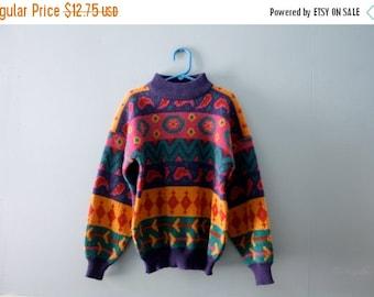 ON SALE Girl's vintage 1980s pattern sweater / Mock Turtle Neck sweater in mustard purple pink teal / Geometric Shapes & Patterns /Girls siz