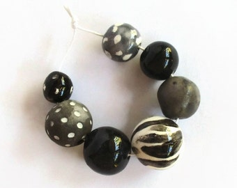 Black and white beads, Handmade Ceramic Beads, African beads, African bead shop, Artisan Beads, artisan beads, bead supplies, bead shop
