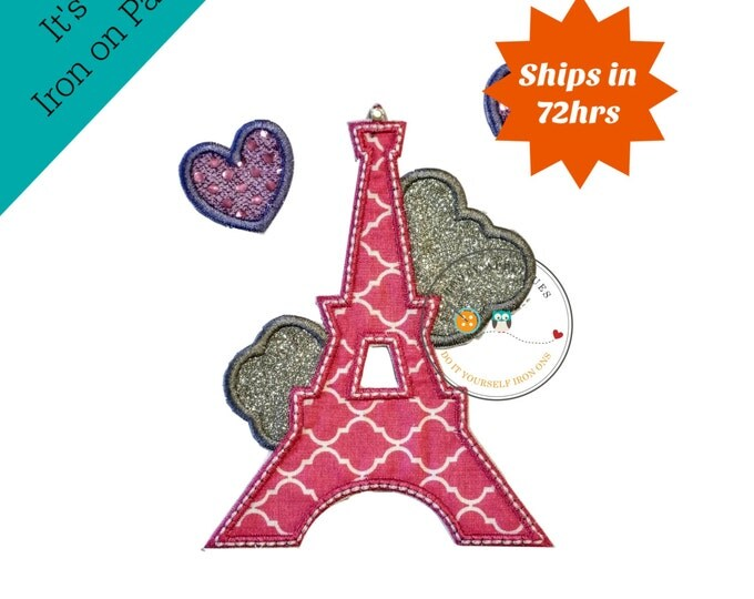 Quatrefoil pink iron on Eiffel tower patch with sequin and glitter hearts, glitter embroidery iron on patch, Paris tower iron on applique