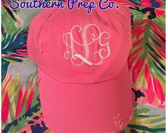 Monogram Distressed Baseball Cap