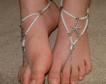 Clear PEARL Starfish Barefoot Sandals Shoes FLAT Beach Wedding Barefoot Shoes Anklet Foot Jewelry SIZED Low Heel Starfish Shoes Jewelry