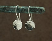 Small Hammered Silver Disc Earrings, Drop Earrings, Sterling Silver Earrings, Hammered Silver Earrings, Southwestern Earrings