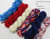 Land of the Free Knit KIT - 6 Sock Skeins, 2 patterns