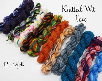 Knitted Wit Love - 12 Sock Yarn mini skeins, 12 yds each, 144 yds total