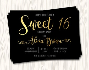 Black and Gold Sweet 16 Sixteen Birthday Party Invitation Card - Any Color