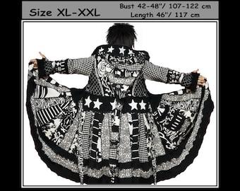 Elf coat, eLF sWEATER, size XL, size XXL, fairy, women hoodie, sweater coat, patchwork, hippie dress, OOAK, dream coat, wearable art