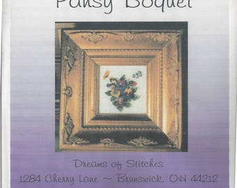 """Clearance - """"Pansy Bouquet"""" Silk Gauze Kit by Dreams of Stitches"""