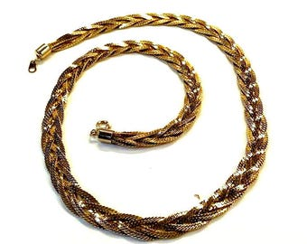 Vintage 80s Heavy Braided SERPENTINE CHAIN NECKLACE Vtg Goldtone Sparkling Rich Costume Jewelry