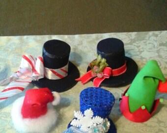 Christmas Mini Hats Holiday Party Hats Santa Claus Elf Merry Christmas Mini Hats Set of 5 Mini Hats